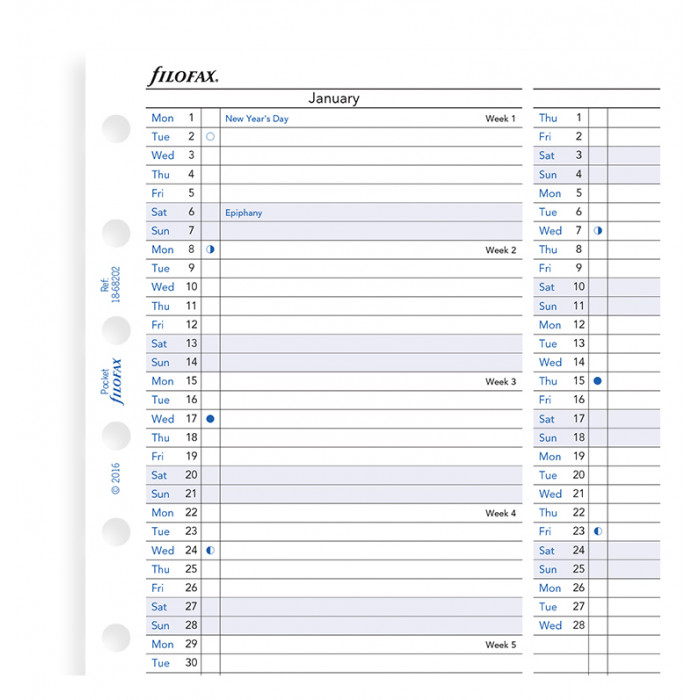 Planner annuale verticale 2019 Pocket - Inglese