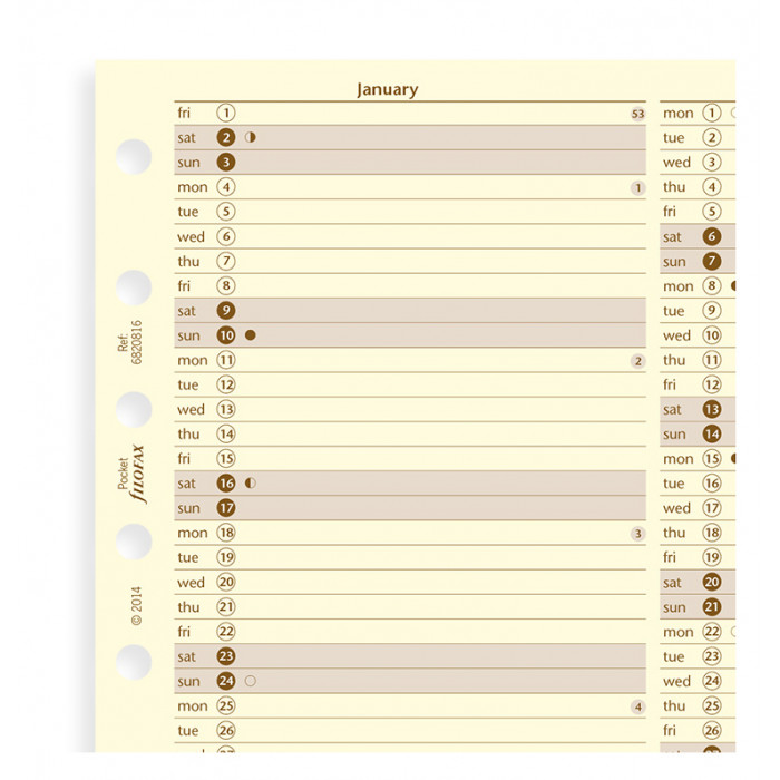 Planner annuale verticale Crema Pocket - Inglese