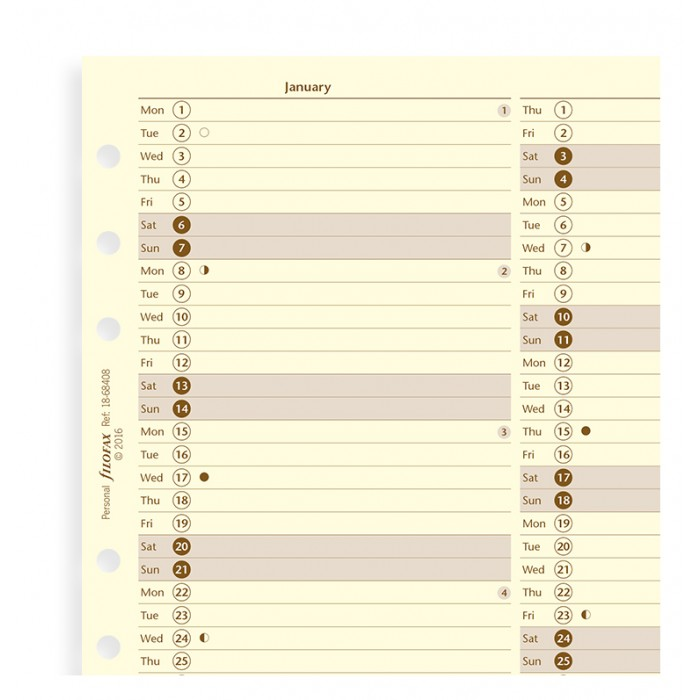 Planner annuale verticale Crema Personal - Inglese 2021