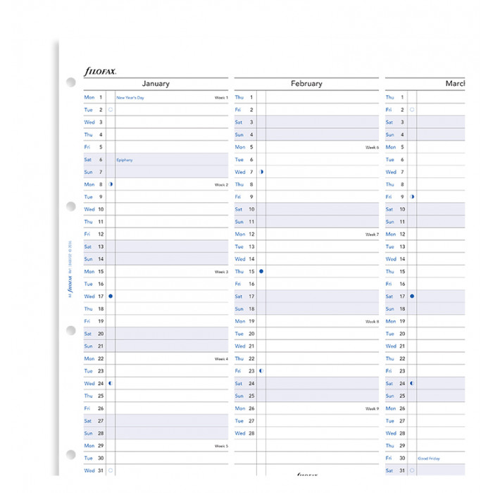 Planner annuale verticale A4 - Inglese